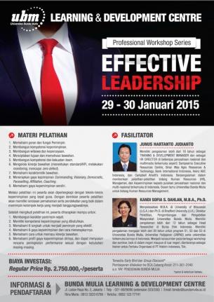 Profesional Workshop Series: EFFECTIVE LEADERSHIP