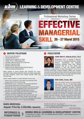 Profesional Workshop Series: EFFECTIVE MANAGERIAL SKILL