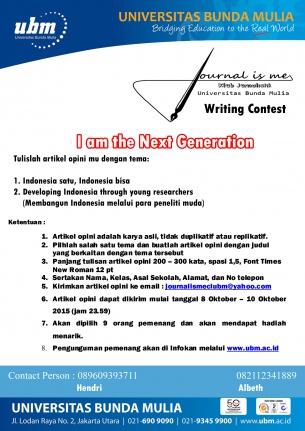 LOMBA MENULIS ARTIKEL OPINI UNTUK SISWA SMA/SMK Di EDUFEST UNIVERSITAS BUNDA MULIA 8-10 Oktober