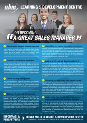 Profesional Workshop Series: On Becoming A Great Sales Manager