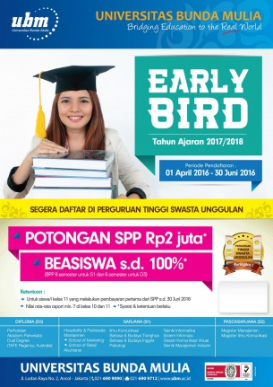 "Beasiswa Kelas XI ""EARLY BIRD"" 2016"