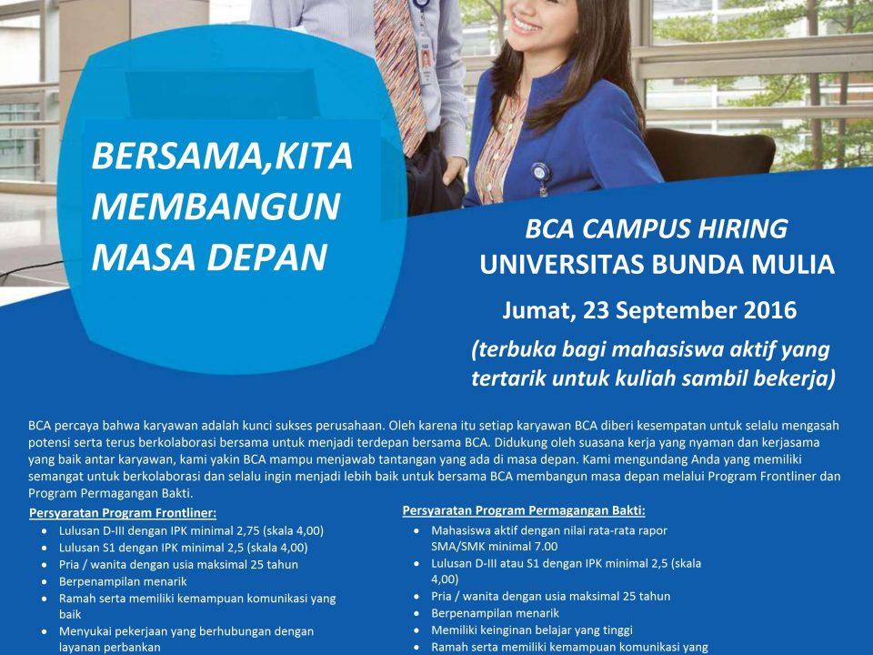 Campus Hiring Universitas Bunda Mulia 23 Sept 2016 11