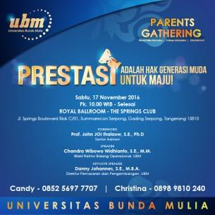 UBM Parents Gathering Serentak di Jakarta, Bogor, dan Serpong!