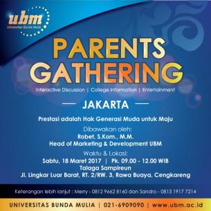 Parents Gathering UBM @Jakbar : Prestasi adalah Hak Generasi Muda Untuk Maju