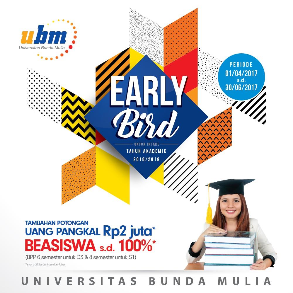 Program Beasiswa UBM Early Bird telah Dibuka !
