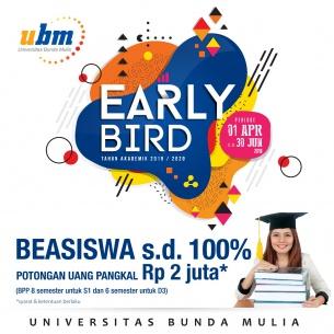 Program Beasiswa UBM Early Bird telah Dibuka!