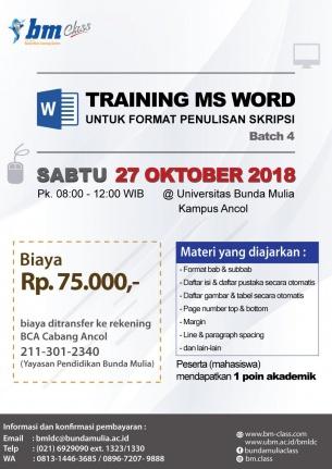 Training Ms Word untuk Format Skripsi