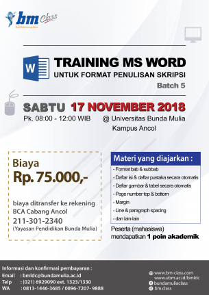 Training Ms Word untuk Format Skripsi Batch 5