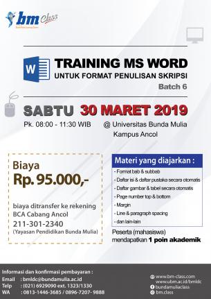 Pelatihan Ms Word untuk Format Skripsi [Batch 6: PENDAFTARAN DIBUKA)