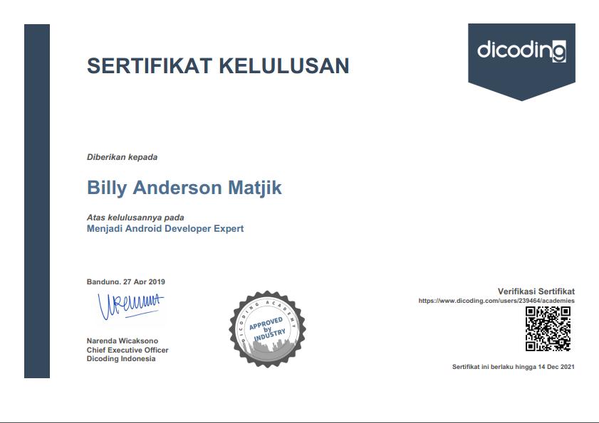 sertifikat billy