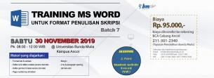 Pelatihan Ms Word Untuk Format Skripsi (Batch 7): DIBUKA !!!
