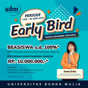 Program Beasiswa Early Bird Tahun Ajaran 2021/2022