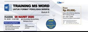 Pelatihan Ms Word untuk Format Skripsi (Batch 8)